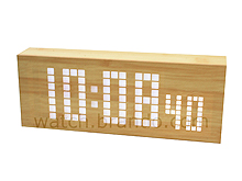 Wooden LED Alarm Clock (Grid LED/Oak)