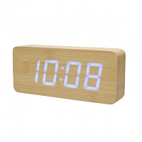 Wooden LED Alarm Clock (Bamboo)