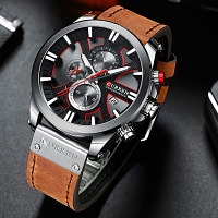 Curren Mens Sport Waterproof Leather Band Strap Wristwatch 8346
