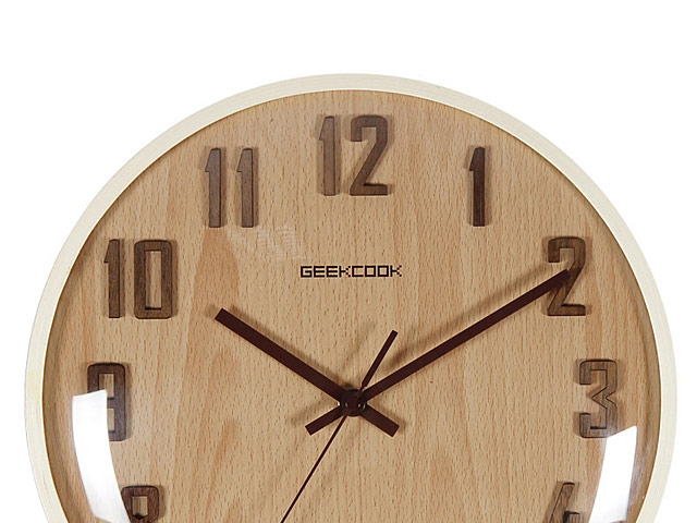 Convex Glass Wooden Clock