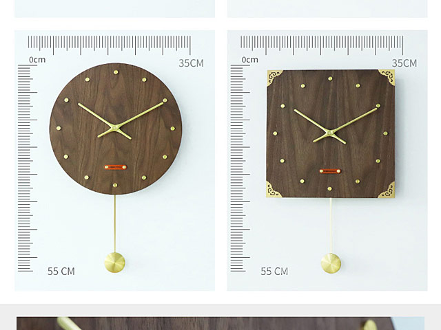 Retro MDF Walnut Brass Swing Clock