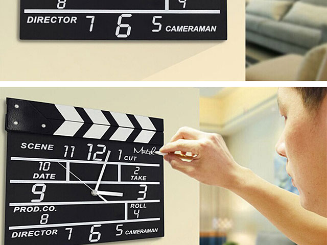 Wooden Movie Clapper Clock