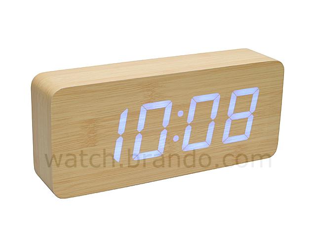 Wooden Led Alarm Clock Oak