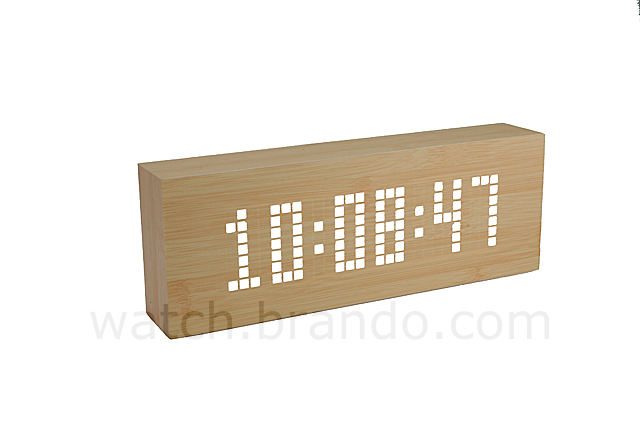 Wooden LED Message Clock (Grid LED/Bamboo)