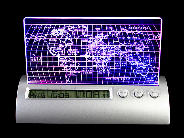 World Map LCD Clock