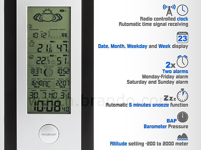 9-in-1 LED Radio Controlled Weather Station Clock