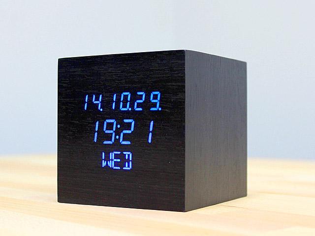 Wooden Cube LED Alarm Clock